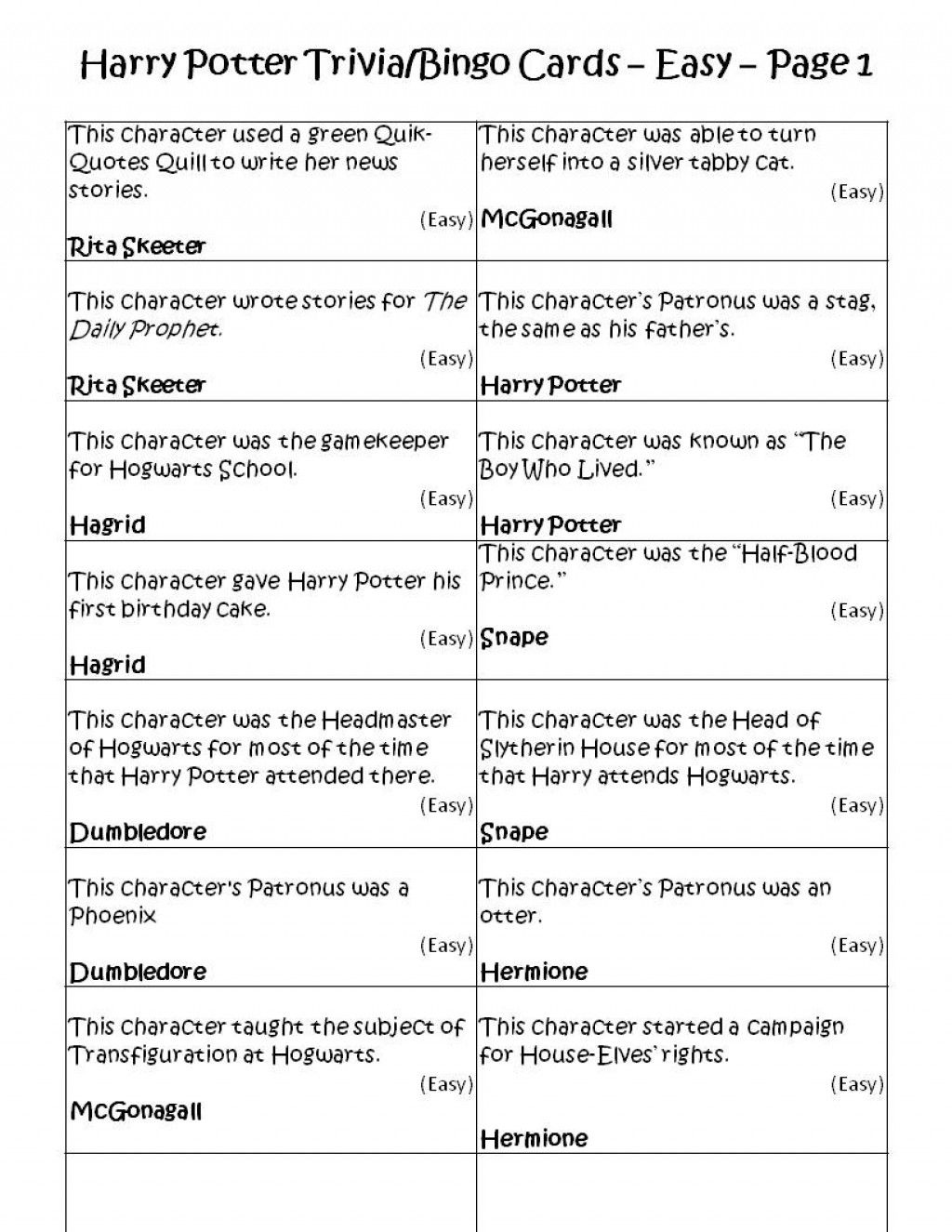 Harry Potter Movie Trivia Questions And Answers Printable