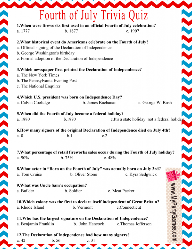 Printable Independence Day Trivia Questions