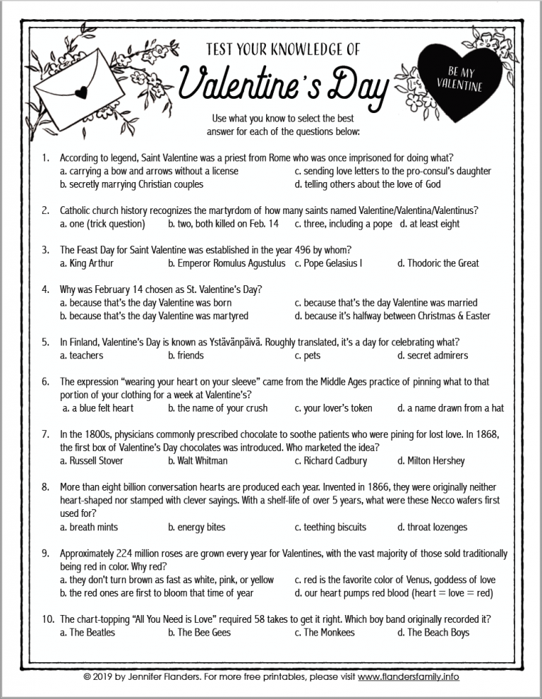 Printable Valentine Trivia Questions And Answers