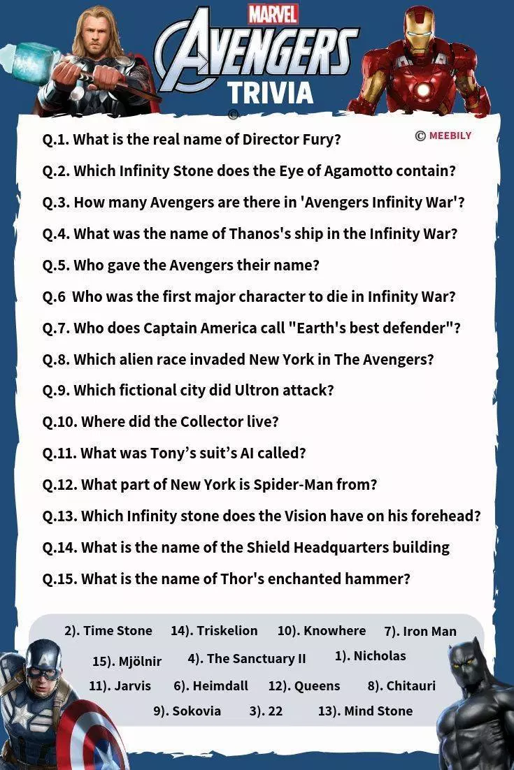 Marvel Trivia Questions And Answers Printable