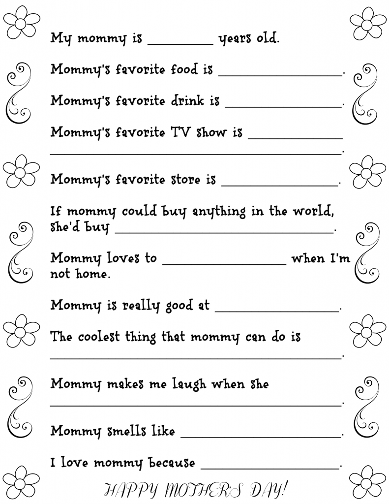 Free Printable Mother's Day Questions