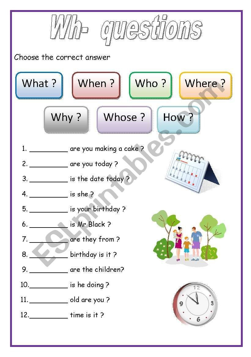 Printable Wh Questions Autism