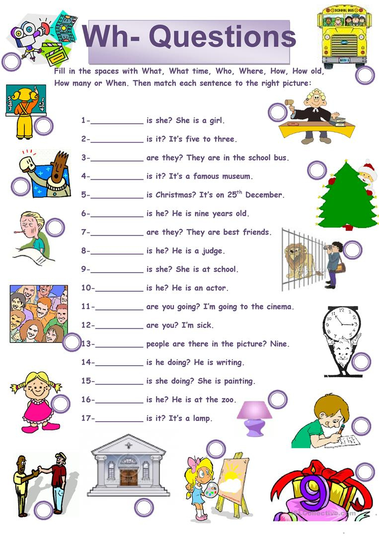 Wh Questions Printable Worksheets