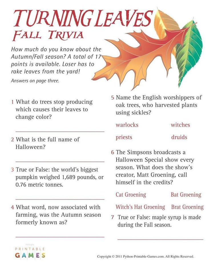 Fall Trivia Questions And Answers For Adults Printable