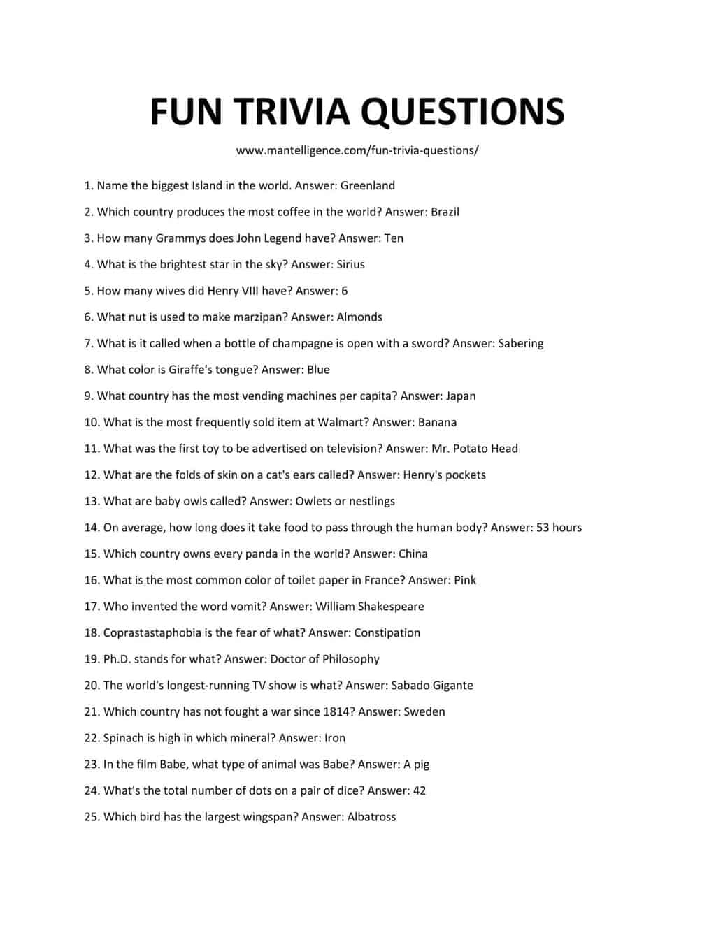 127 Best Fun Trivia Questions And Answers That Will
