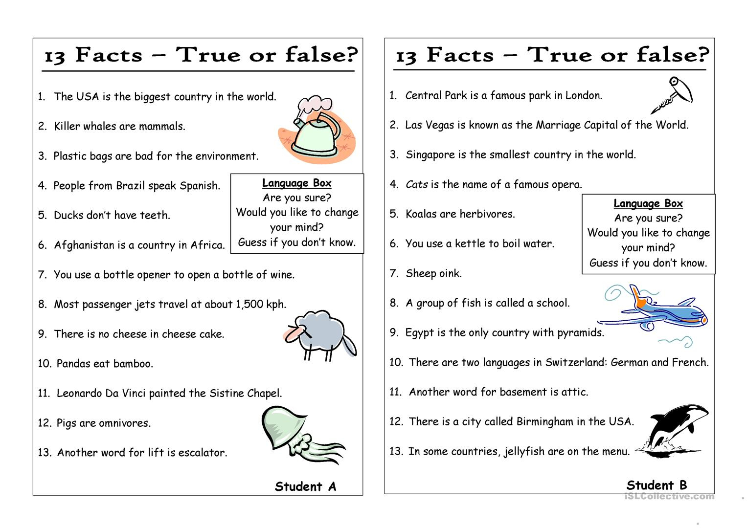 True Or False Questions And Answers Printable