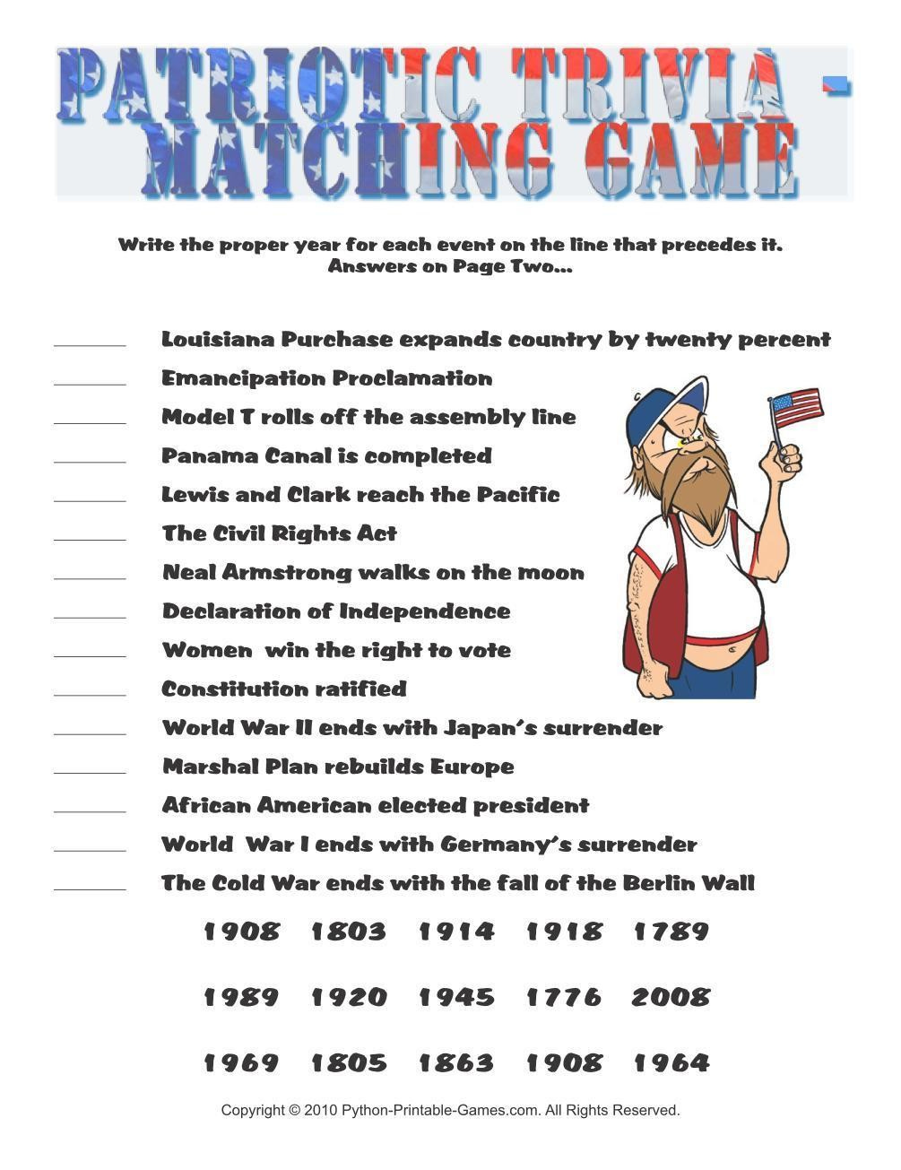 Patriotic Trivia Questions And Answers Printable