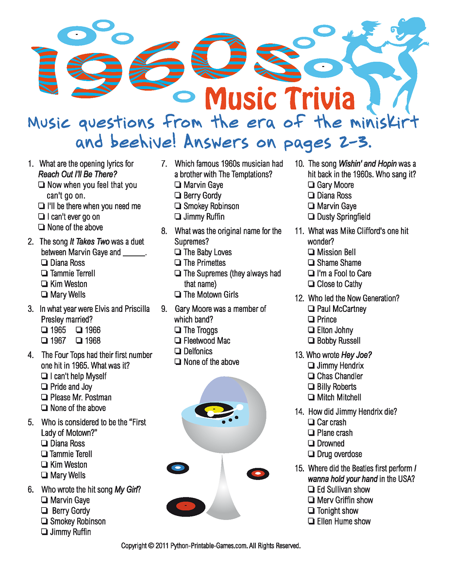 1960s Music Trivia Game 60th Birthday Game 50th