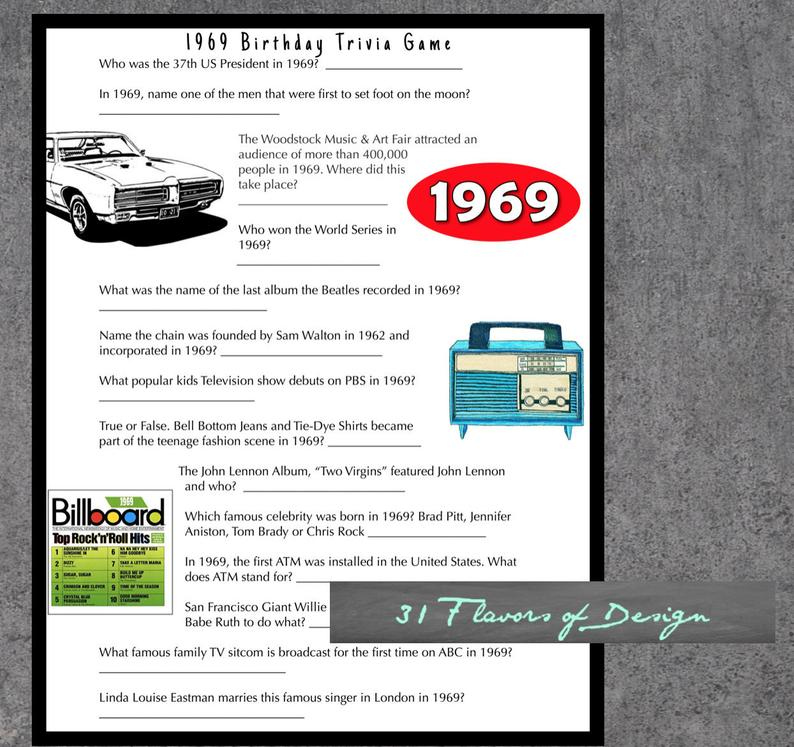 1969 Birthday Party Game Questions From 1969 Instant Etsy