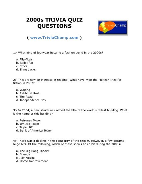 2000'S Trivia Questions And Answers Printable