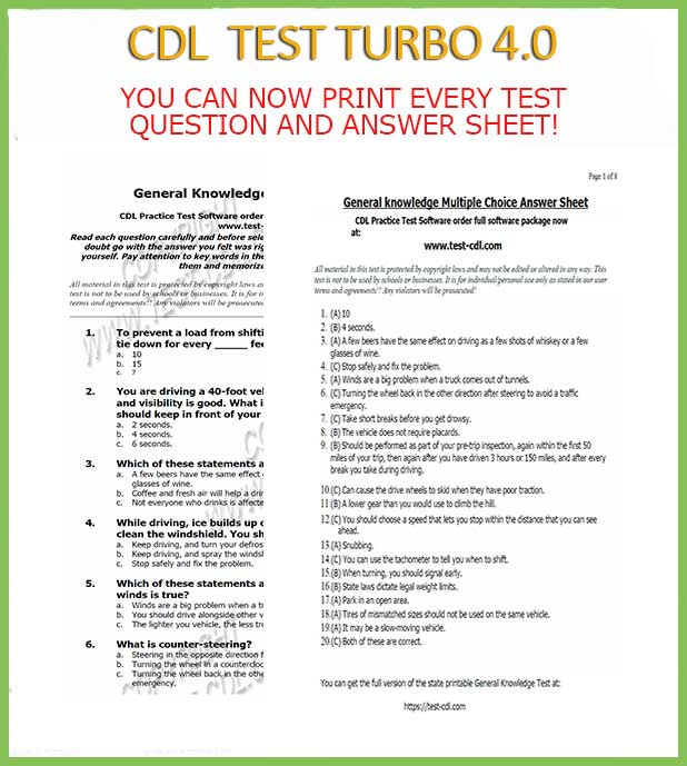 Ca Cdl Test Questions And Answers Printable