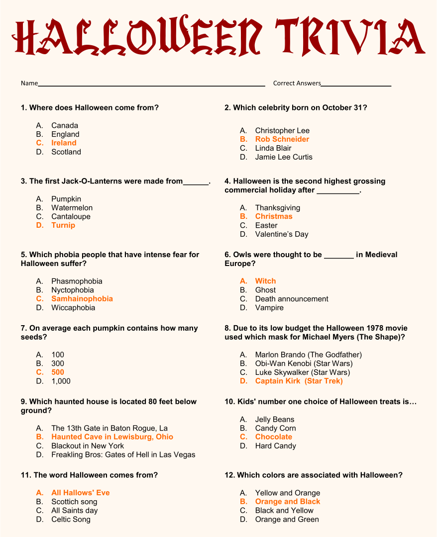 Printable Movie Trivia Questions And Answers