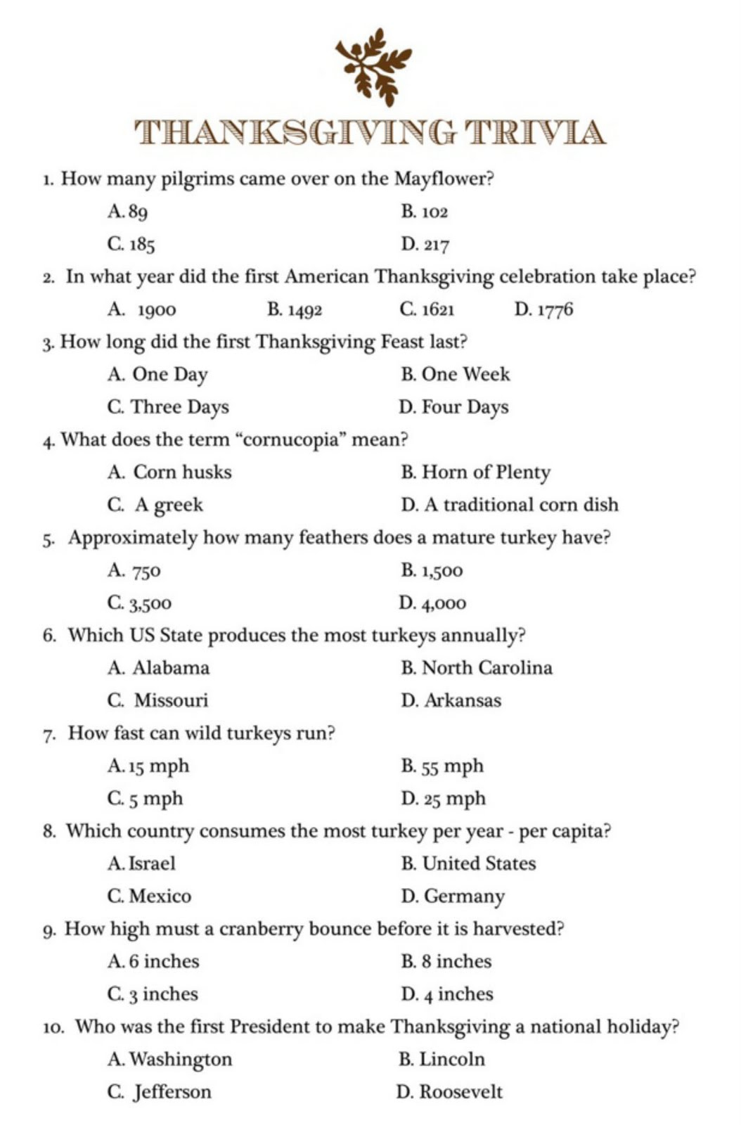 6 Best Printable Kids Trivia Questions And Answers