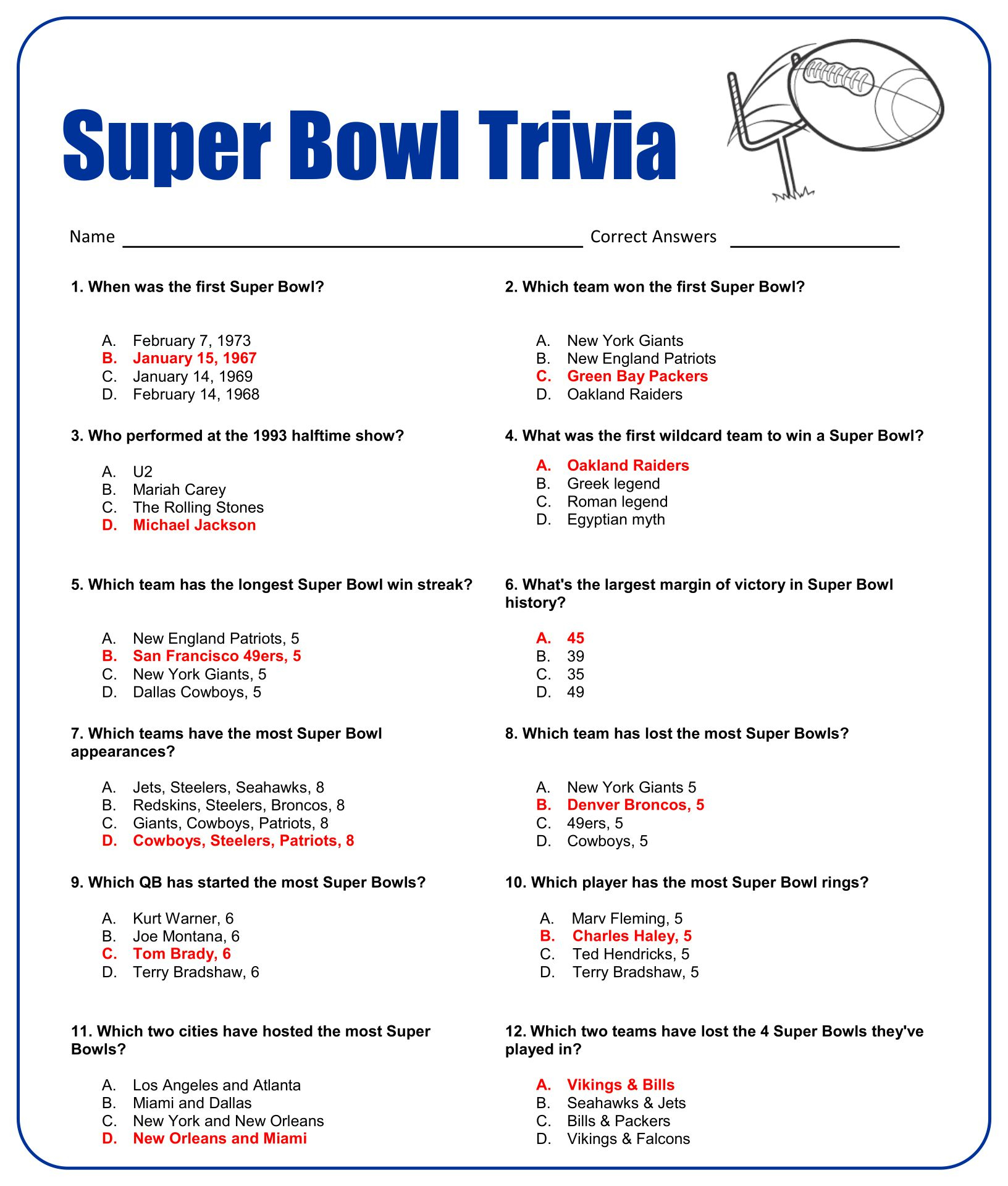 Printable Sports Trivia Questions And Answers