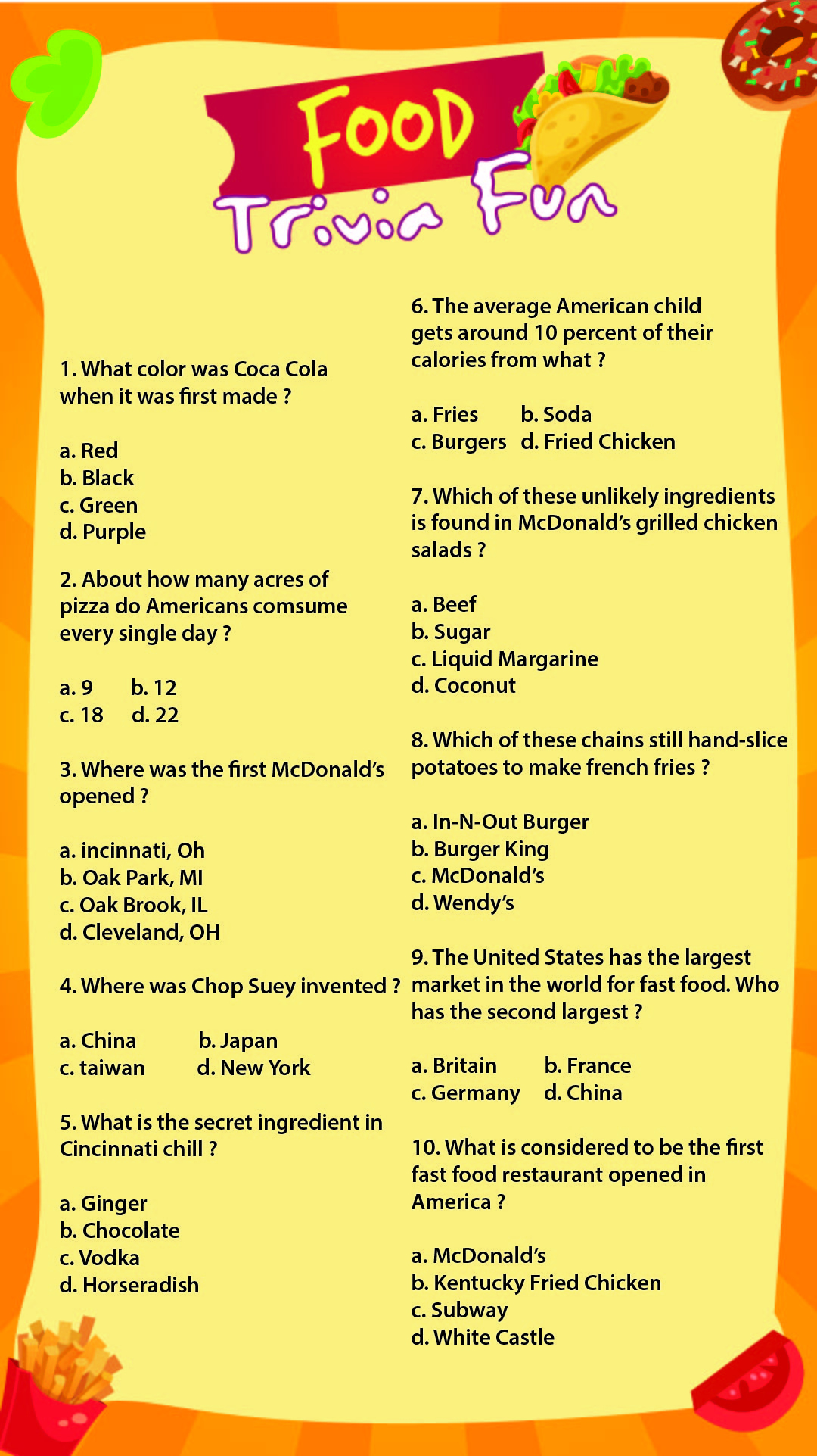 Printable Trivia With Answers
