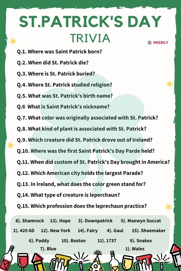 70 St Patrick s Day Trivia Questions Answers Meebily