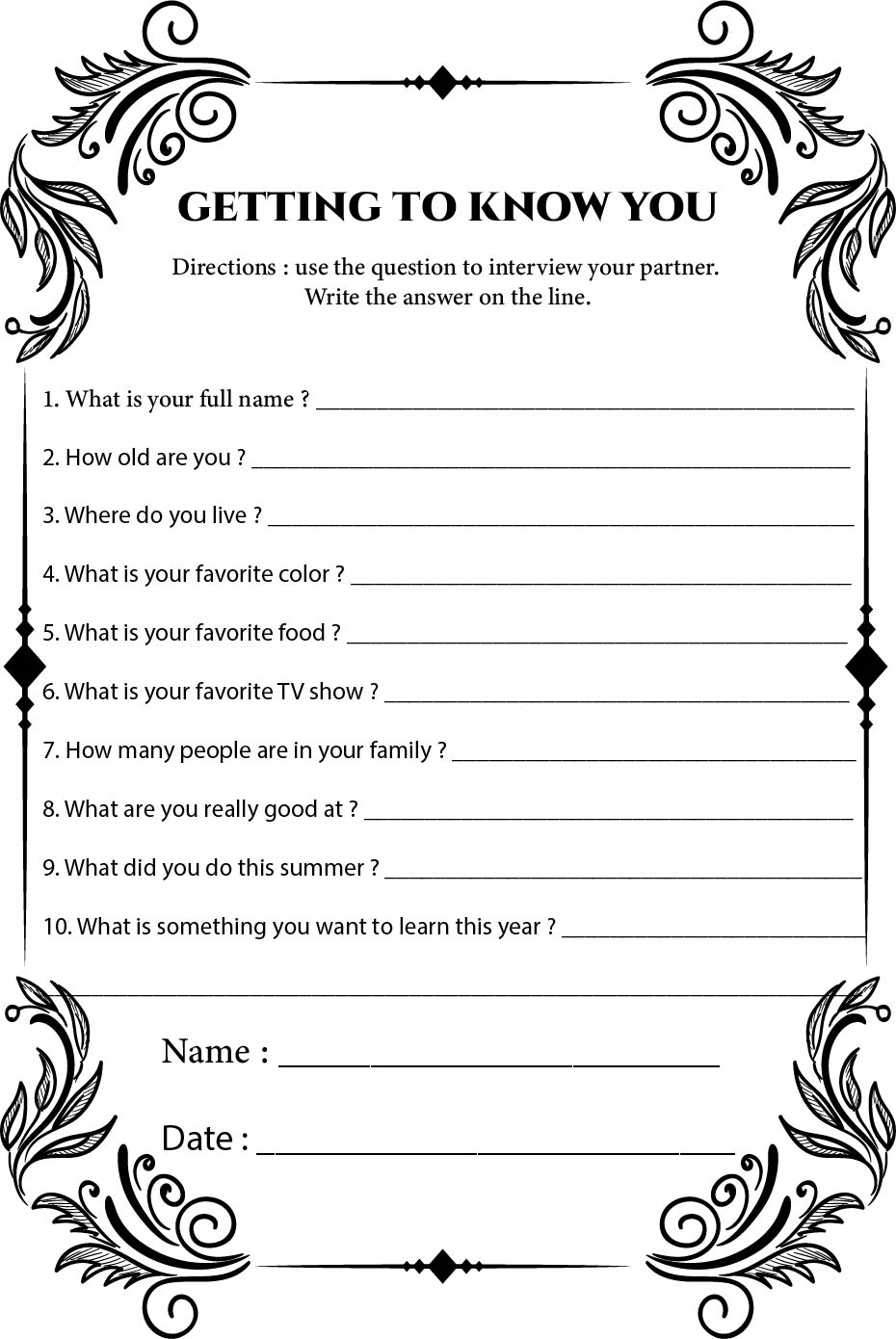 8 Best Classroom Getting To Know You Printables