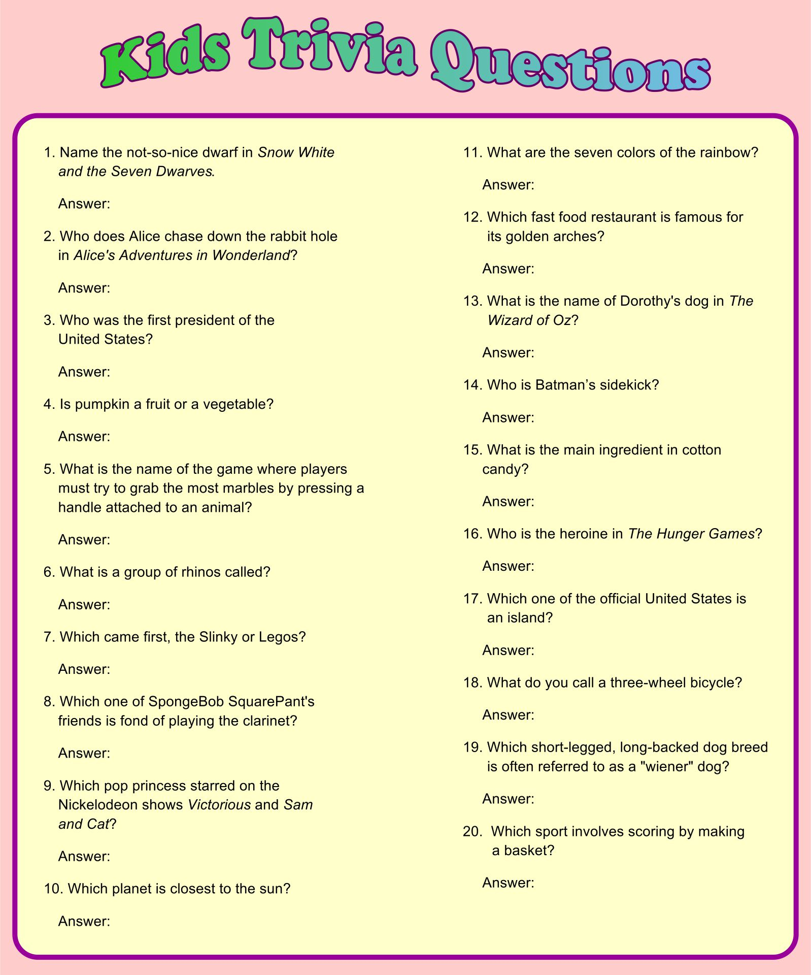Printable Trivia Questions For Kids