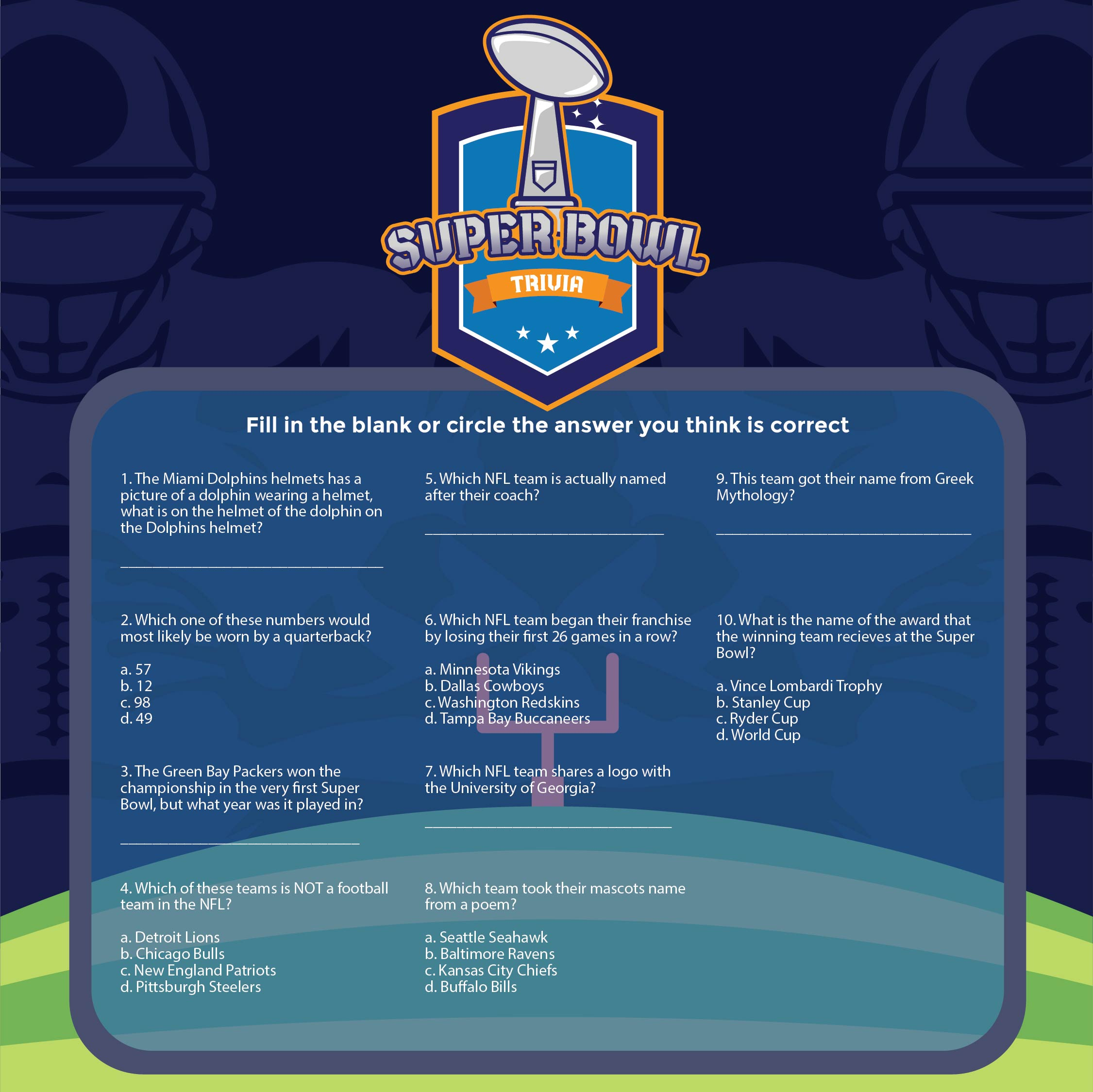 8 Best Printable Football Trivia Questions And Answers