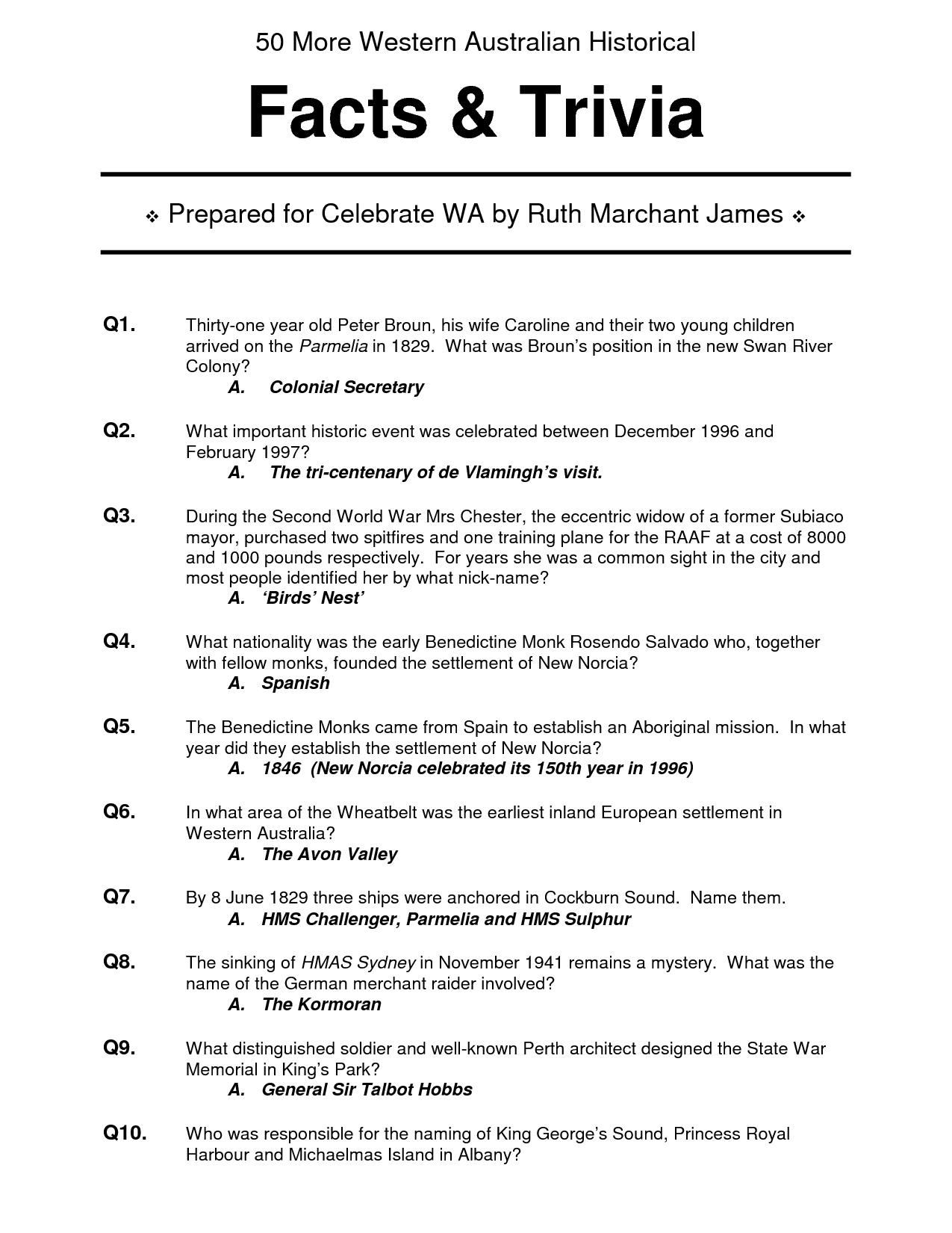 Printable Trivia Questions And Answers For Adults