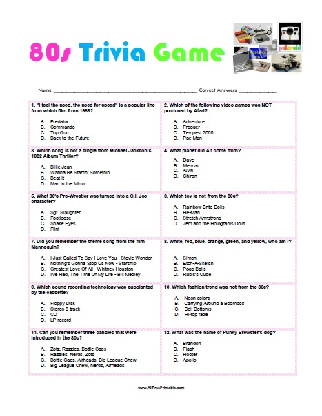 80s Printable Trivia With Answers