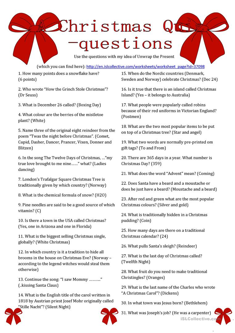 Christmas Questions And Answers Printable