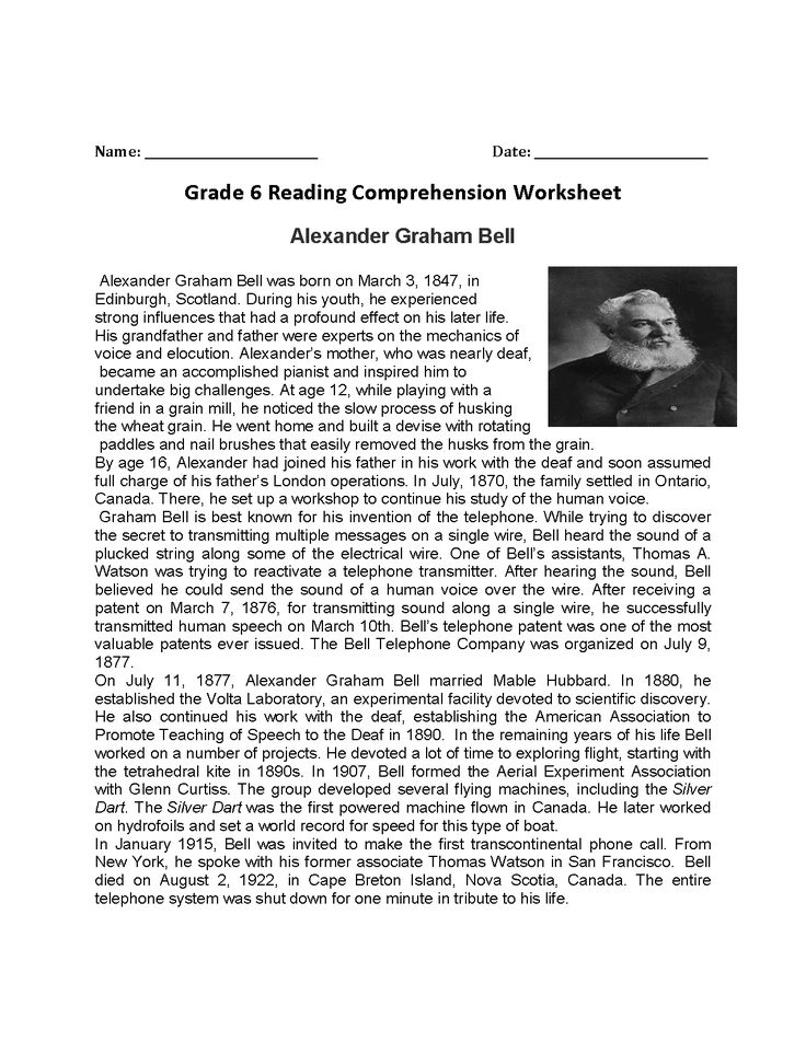 6th Grade Reading Passages With Questions And Answers Printable