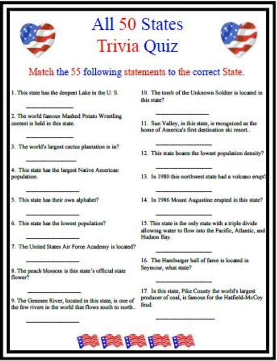 United States Trivia Questions And Answers Printable