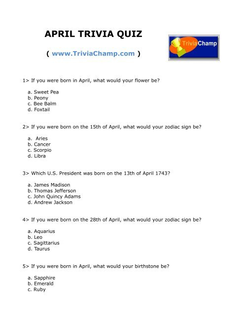 April Trivia Questions And Answers Printable