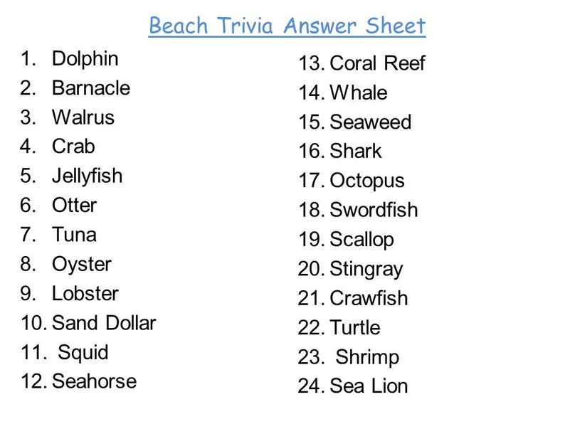 Beach Trivia Cards Trivia Questions Printable Etsy