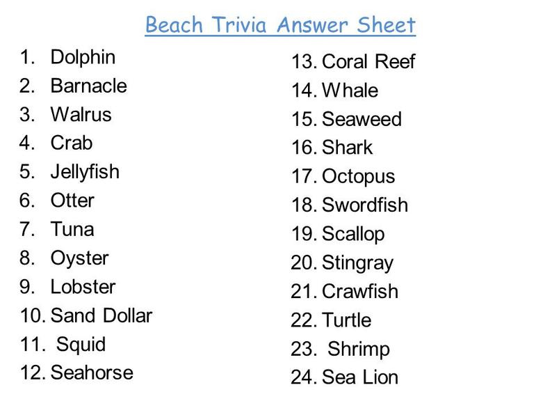 Beach Trivia Questions And Answers Printable