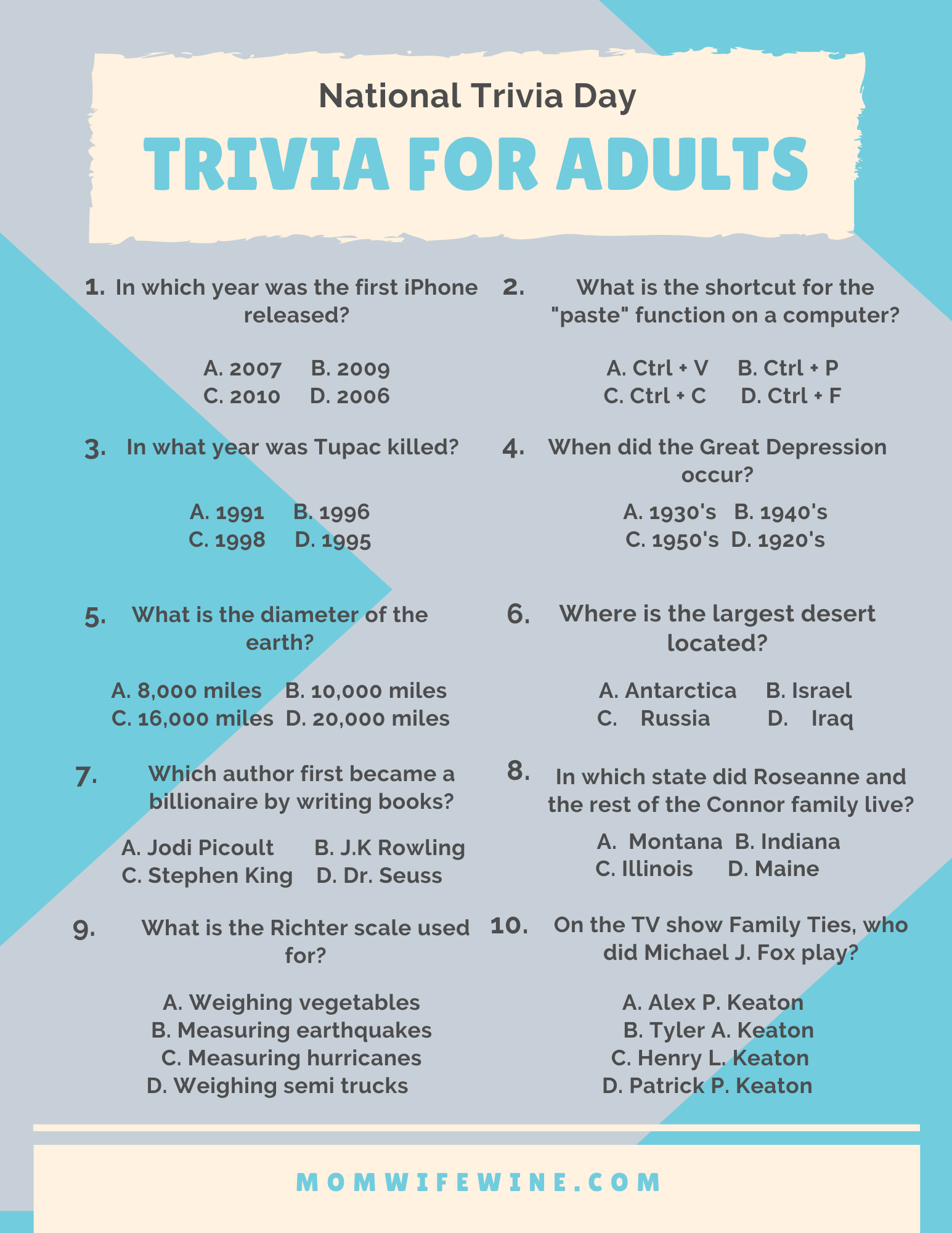 Trivia Questions For Adults Printable