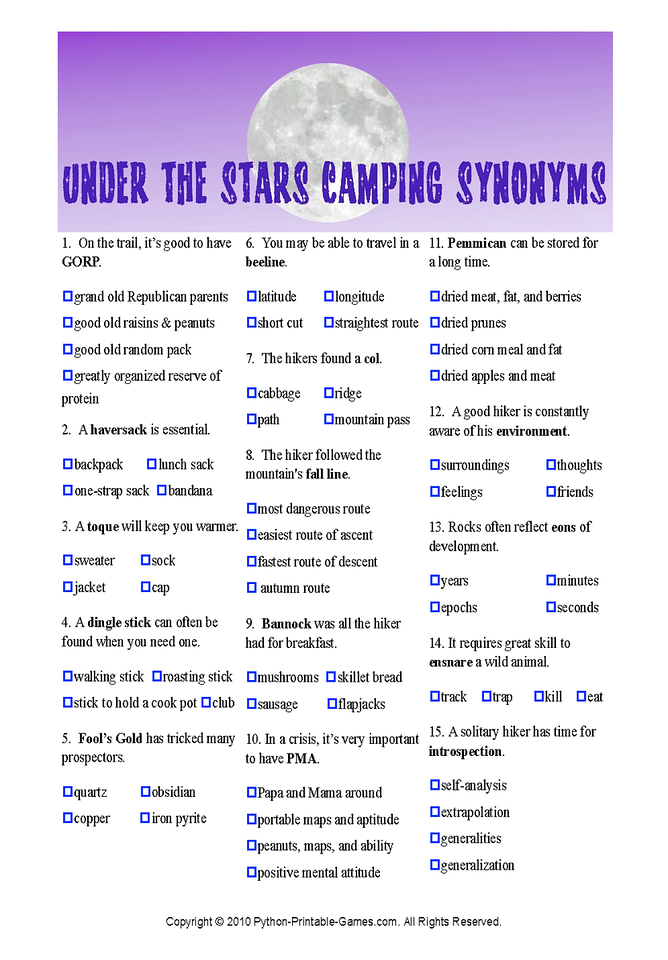Camping Trivia Questions And Answers Printable