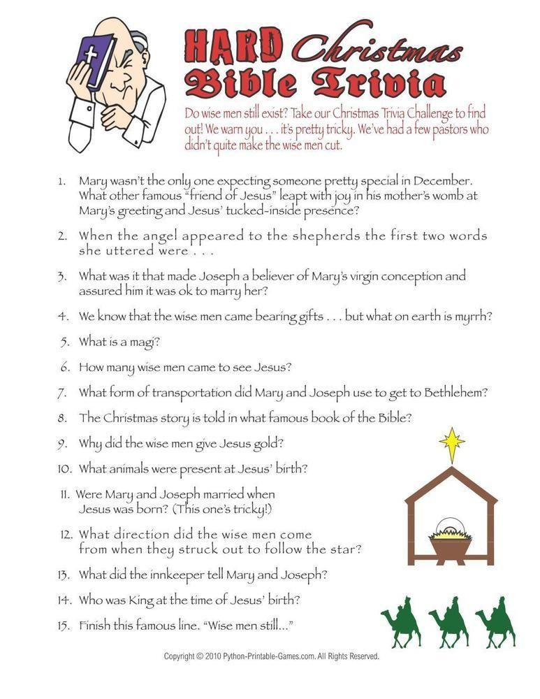 Religious Christmas Trivia Questions And Answers Printable