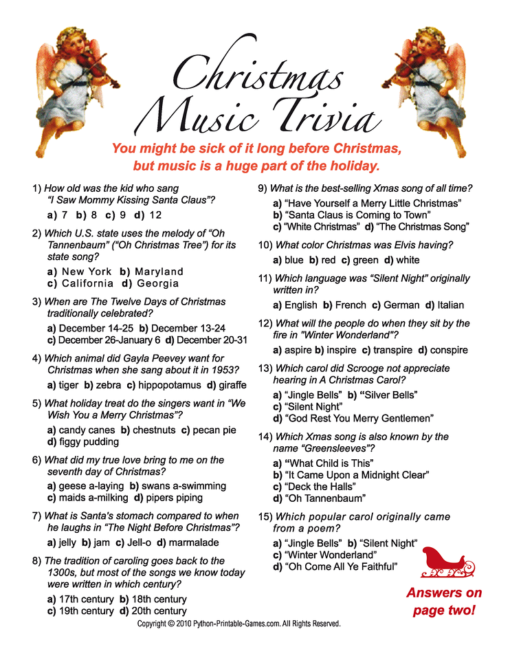 Printable Christmas Song Quiz Questions And Answers