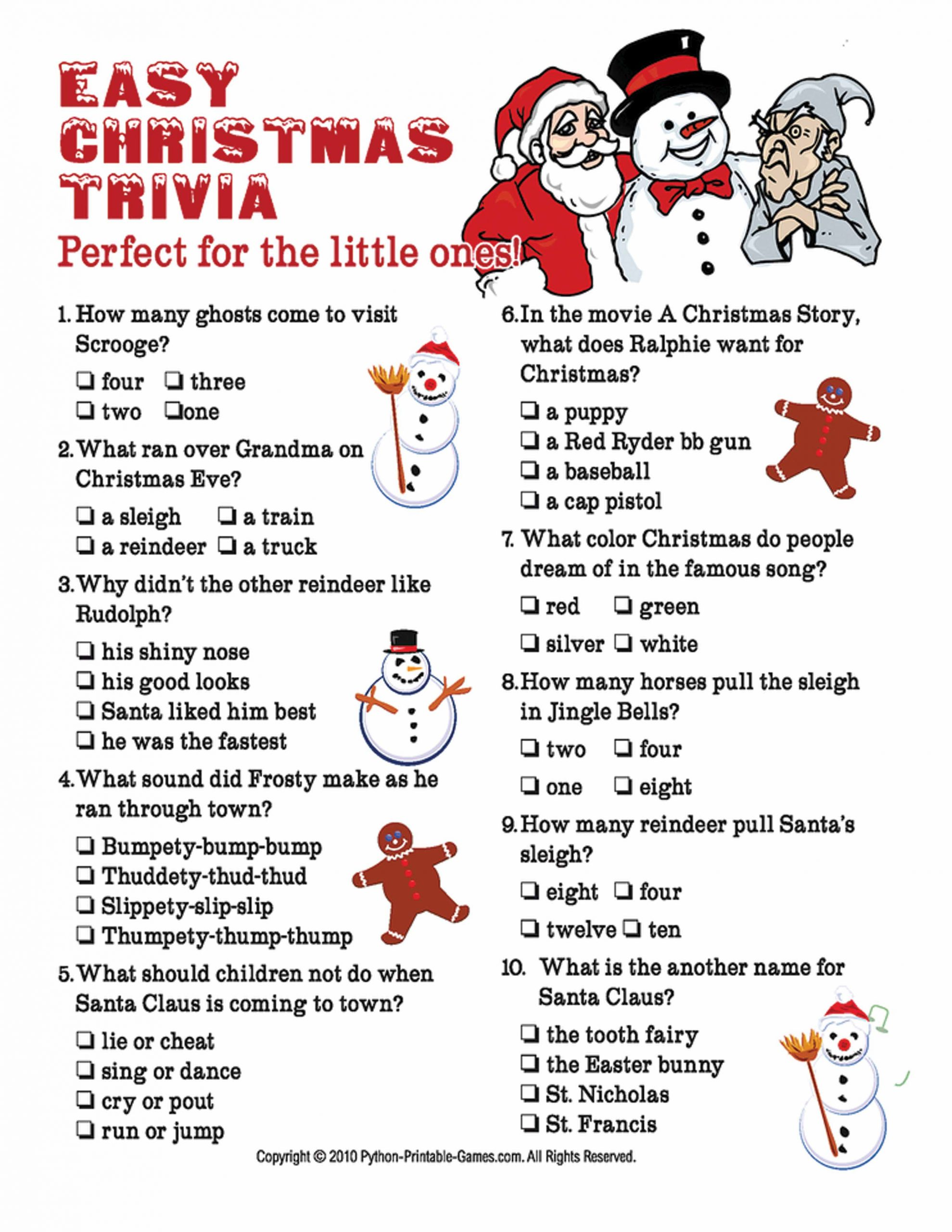 Fun Christmas Trivia Questions And Answers Printable