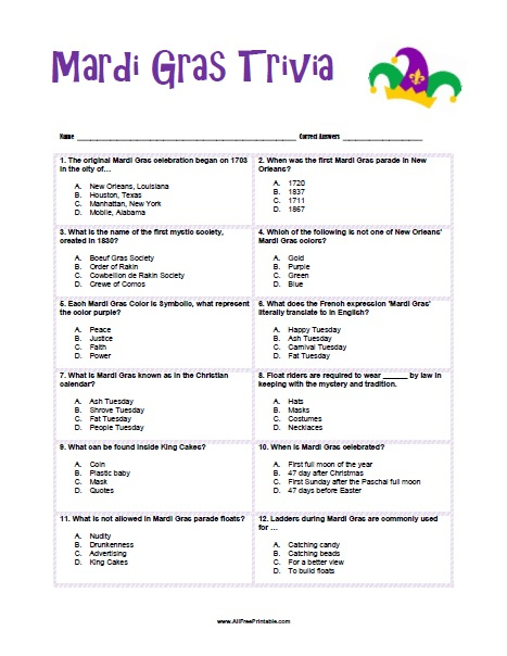 Free Printable Mardi Gras Trivia Questions And Answers