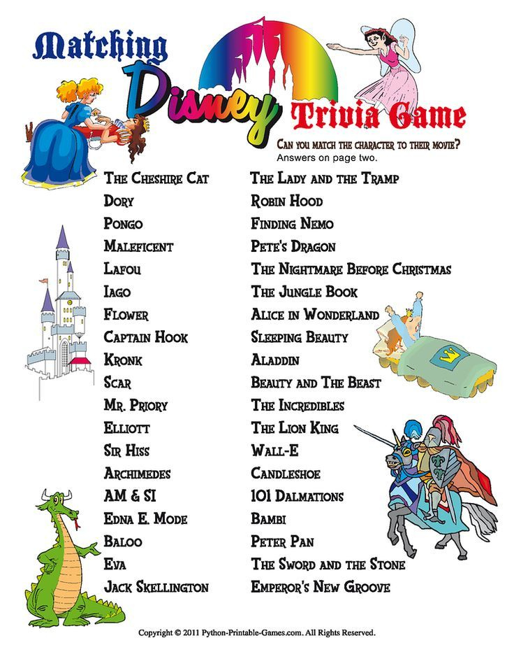 Free Printable Disney Trivia Questions And Answers