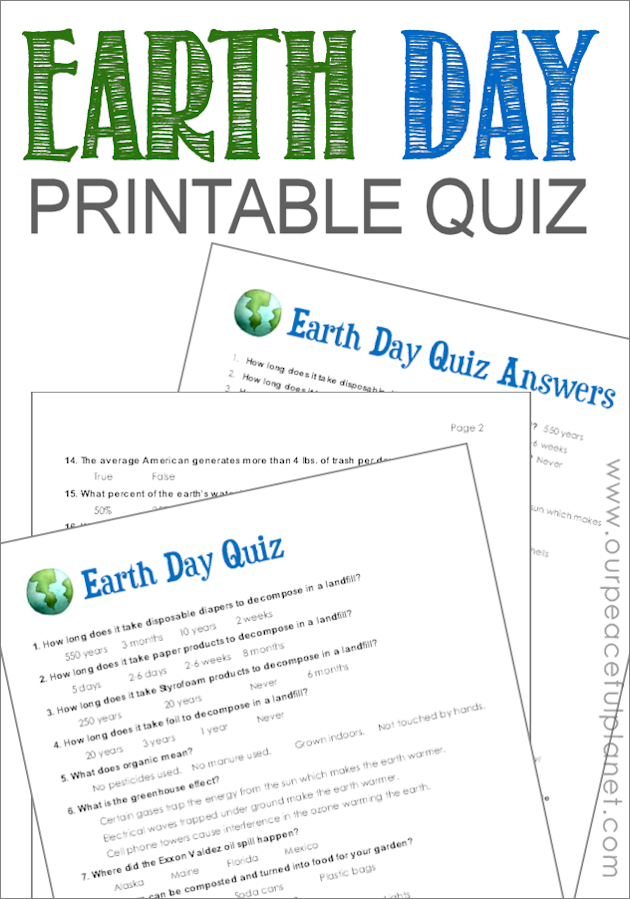 Earth Day Trivia Questions Printable