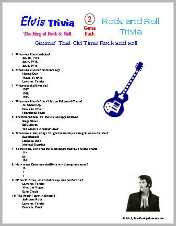 Elvis Trivia And Rock And Roll Trivia