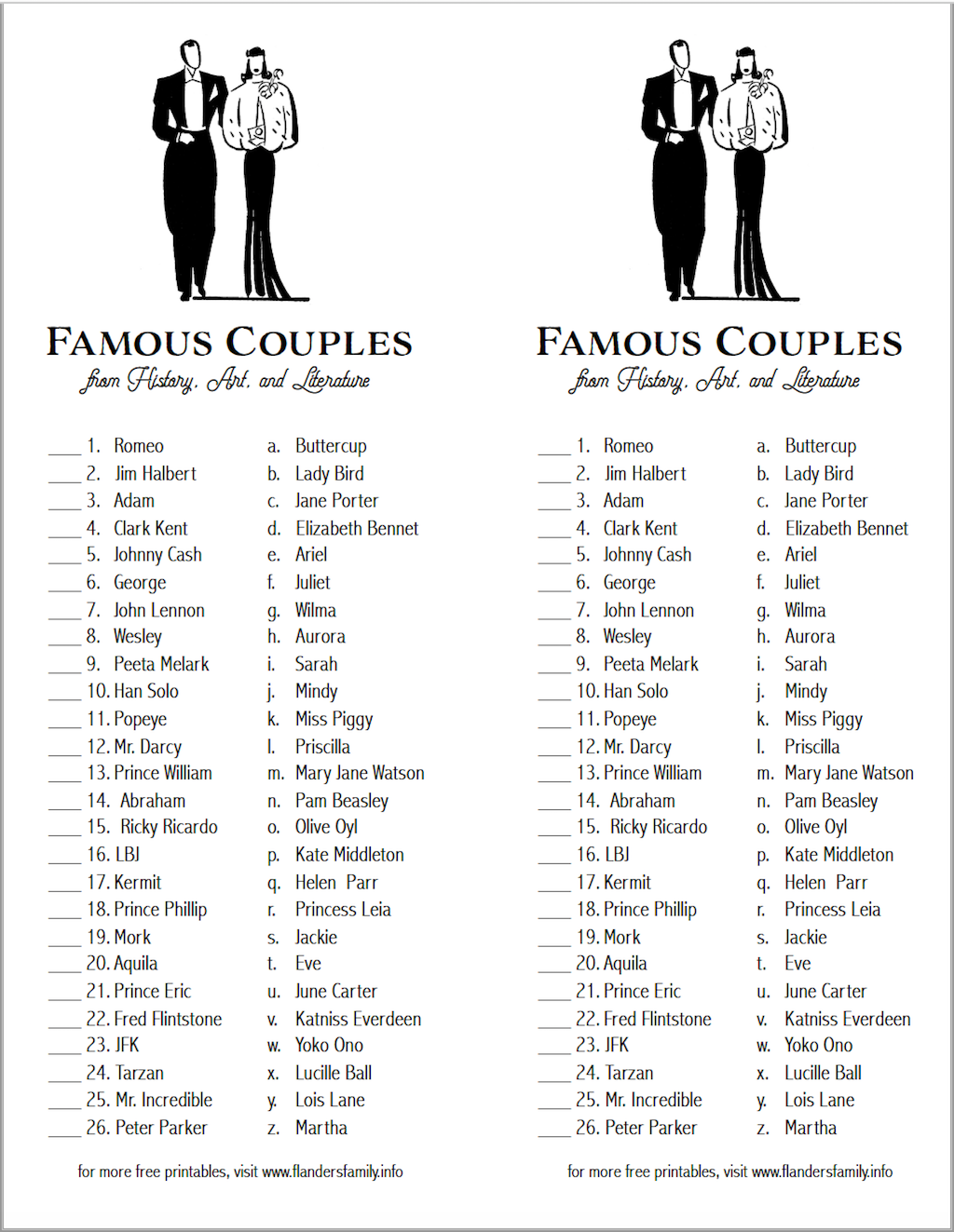 Famous Couples Matching Game Flanders Family Homelife