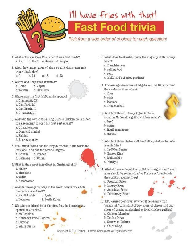 Fast Food Trivia Questions And Answers Printable