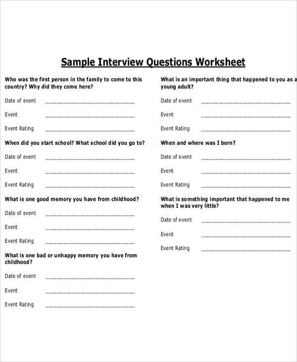Free Printable Interview Questions