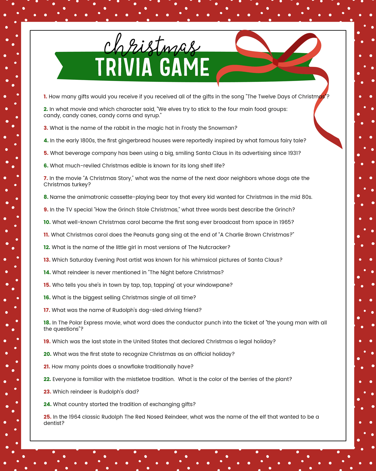 Free Christmas Trivia Questions And Answers Printable
