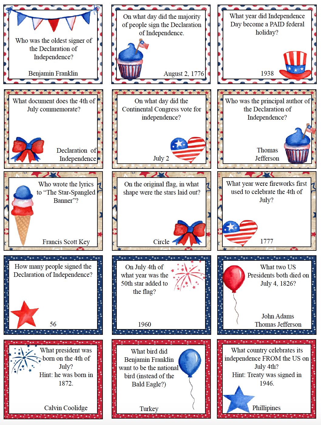 4th Of July Trivia Questions Printable