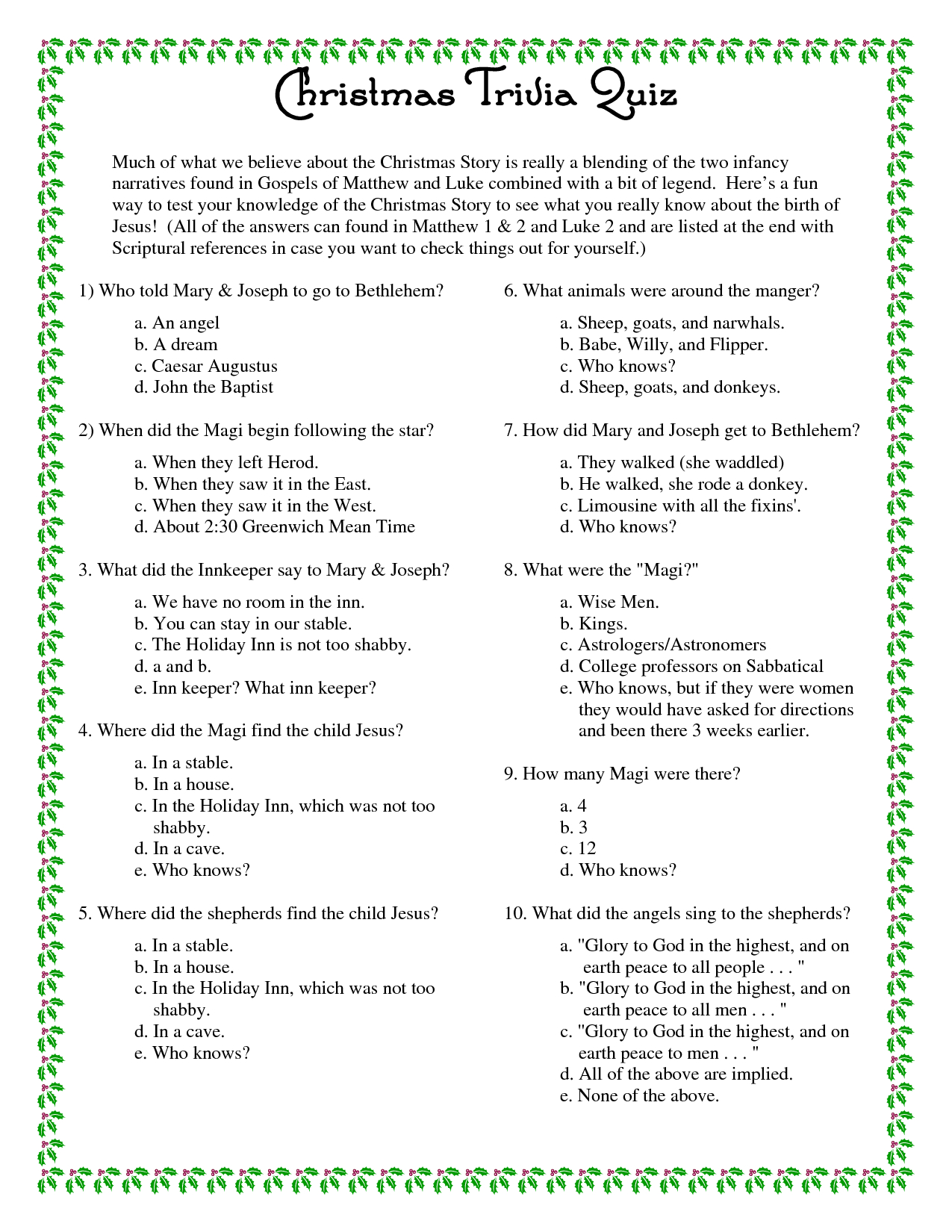 Free Printable Bible Trivia Questions And Answers For Adults