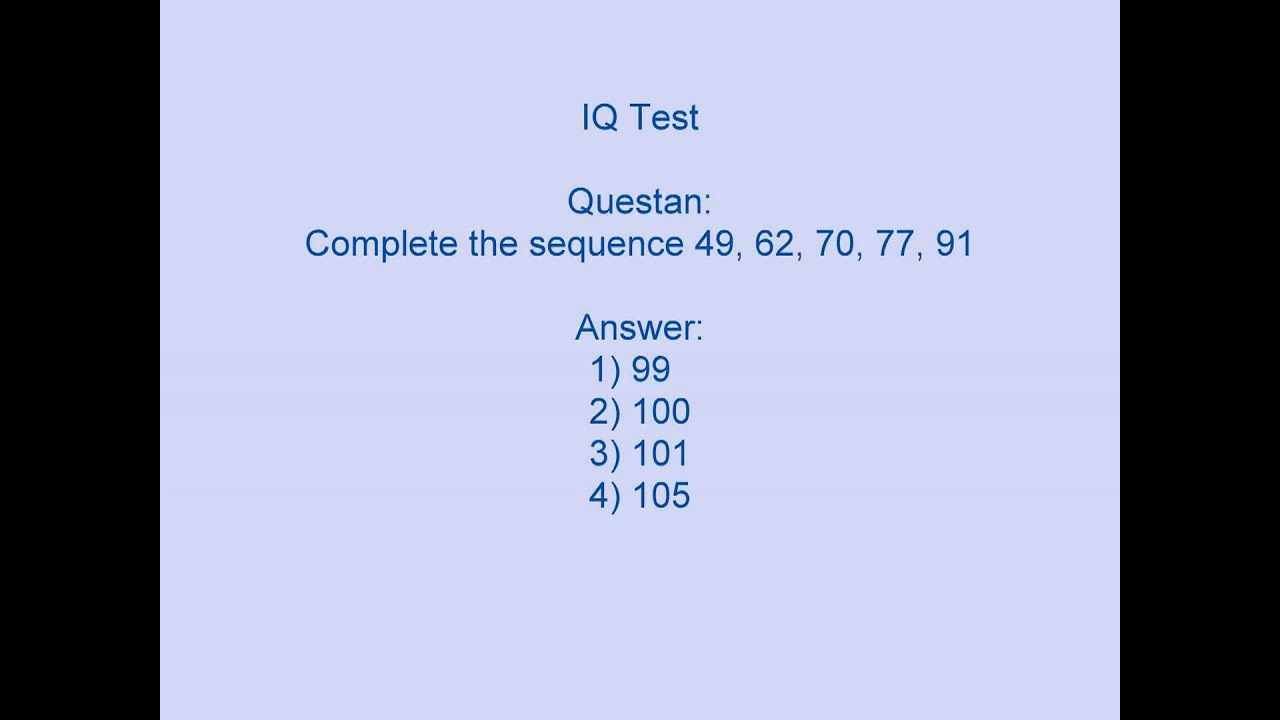 Free Printable Iq Test With Answers Key