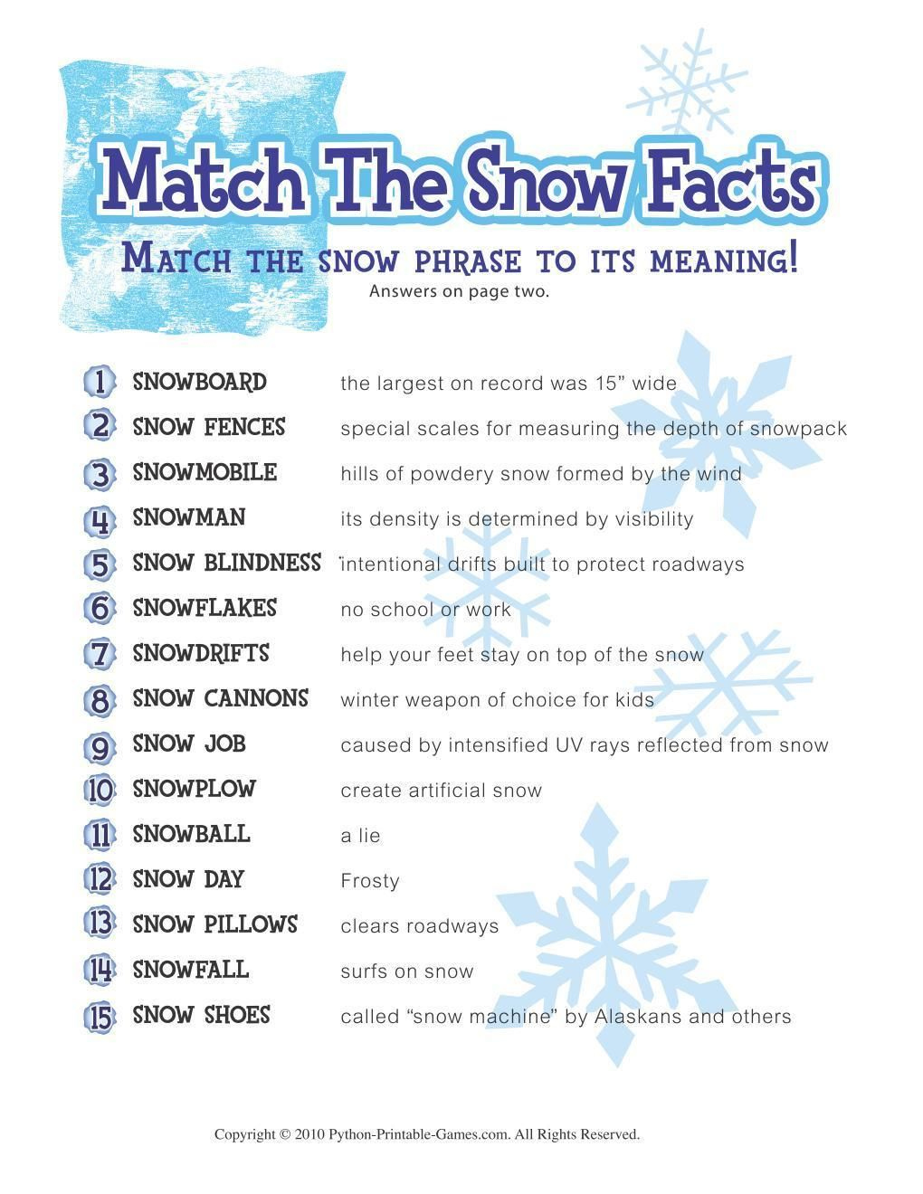 Free Printable Winter Game Match The Snow Facts Download