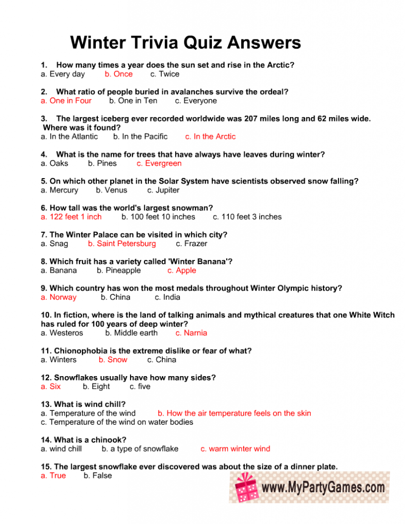 Free Printable Winter Trivia Quiz With Answers