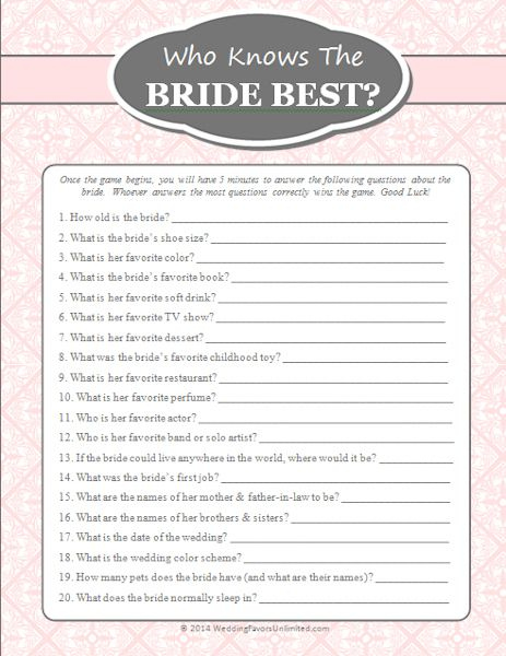 FREE Who Knows The Bride Best Game Printable Bridal